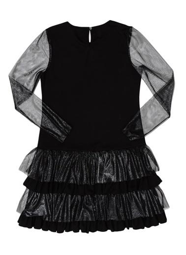 Monster High Monster High Kurukafa İşlemeli Uzun Kollu Çocuk Elbise Siyah